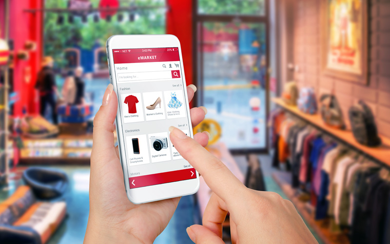 Customer using mobile app to shop online